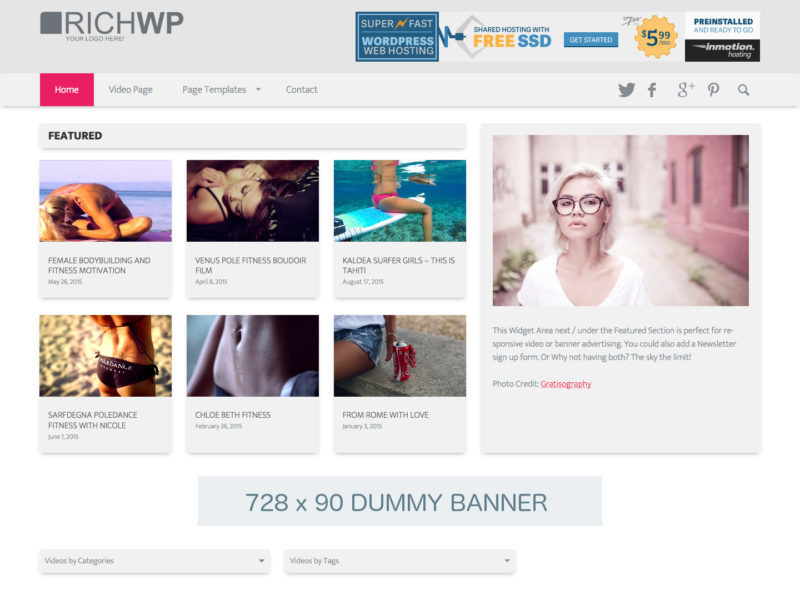 Clean Design WordPress Video Theme