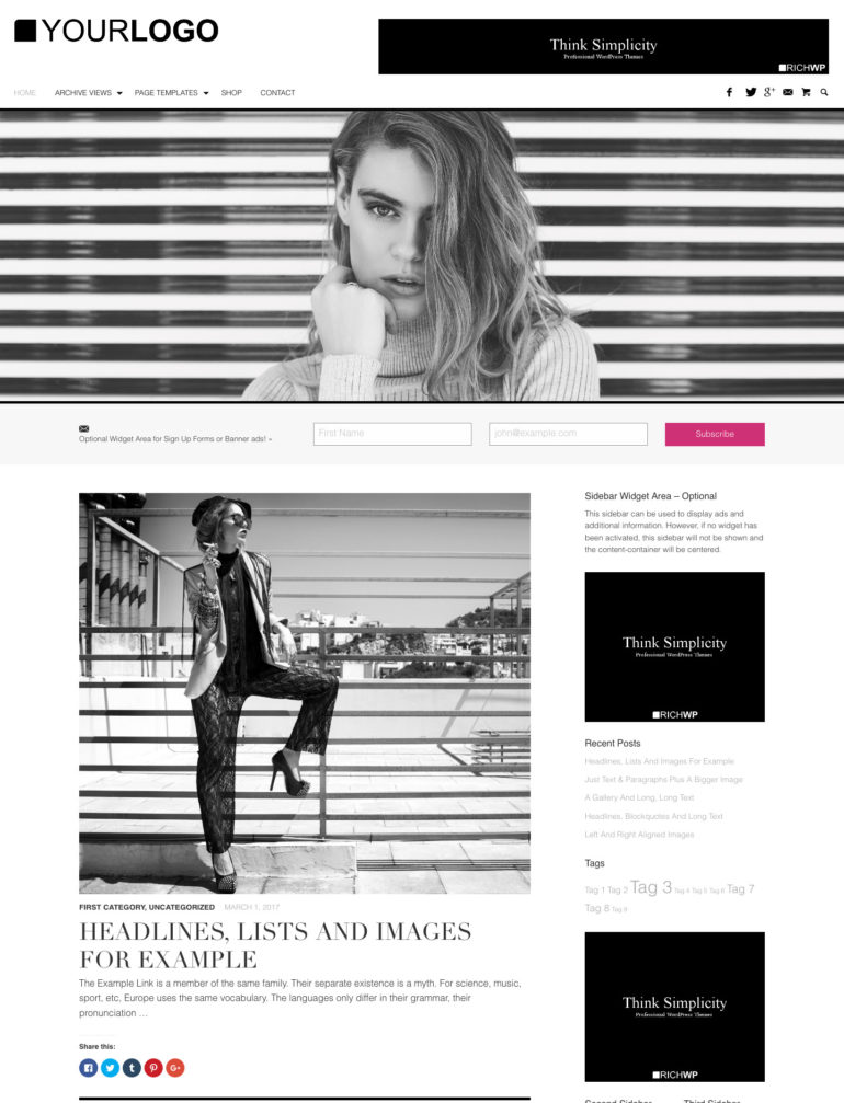 Minimalist WordPress Blog Theme