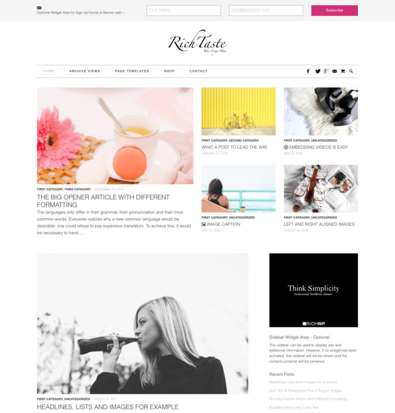 Lifestyle & fashion WordPress Theme