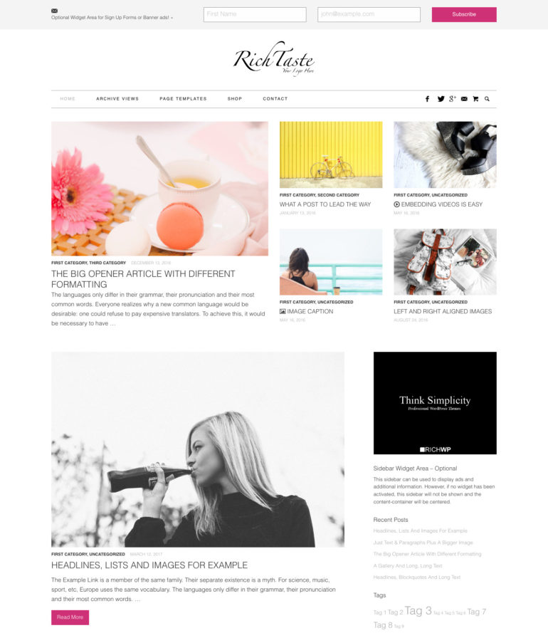 Fashion, Lifestyle WordPress Theme