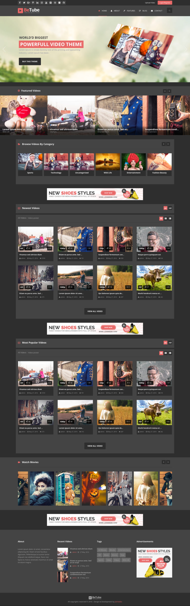 BeTube-Video WP-Theme-DARK-Colored-Version