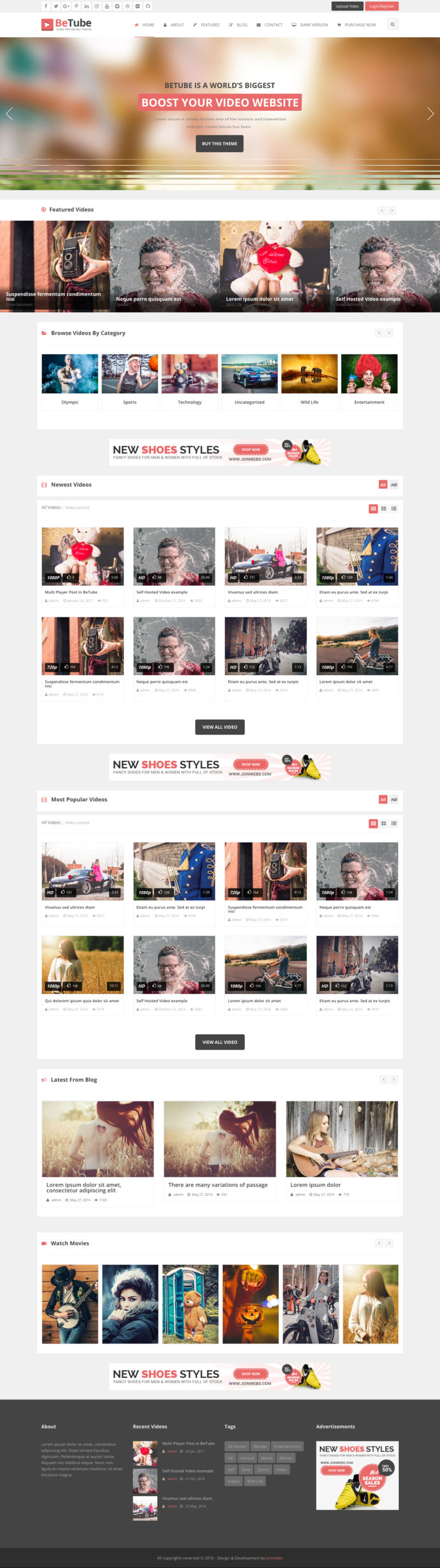 BeTube-Video WP-Theme-Light-Colored-Version
