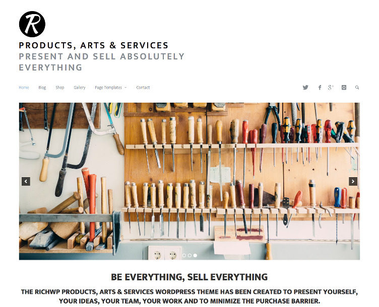 Products, Arts & Services – The New Minimal Business WordPress Theme